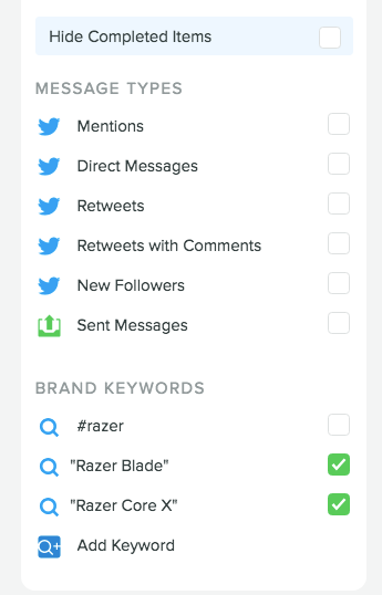 Razer Brand Keywords Smart Inbox