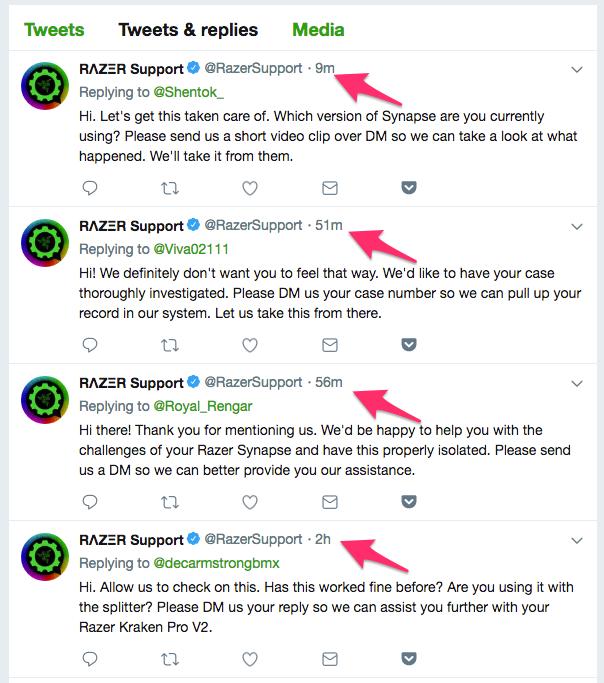 Razer Support Tweets