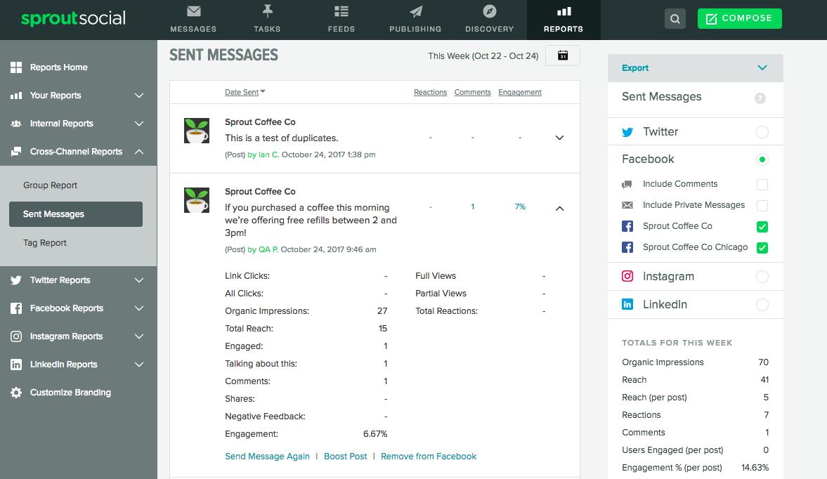 sent message report